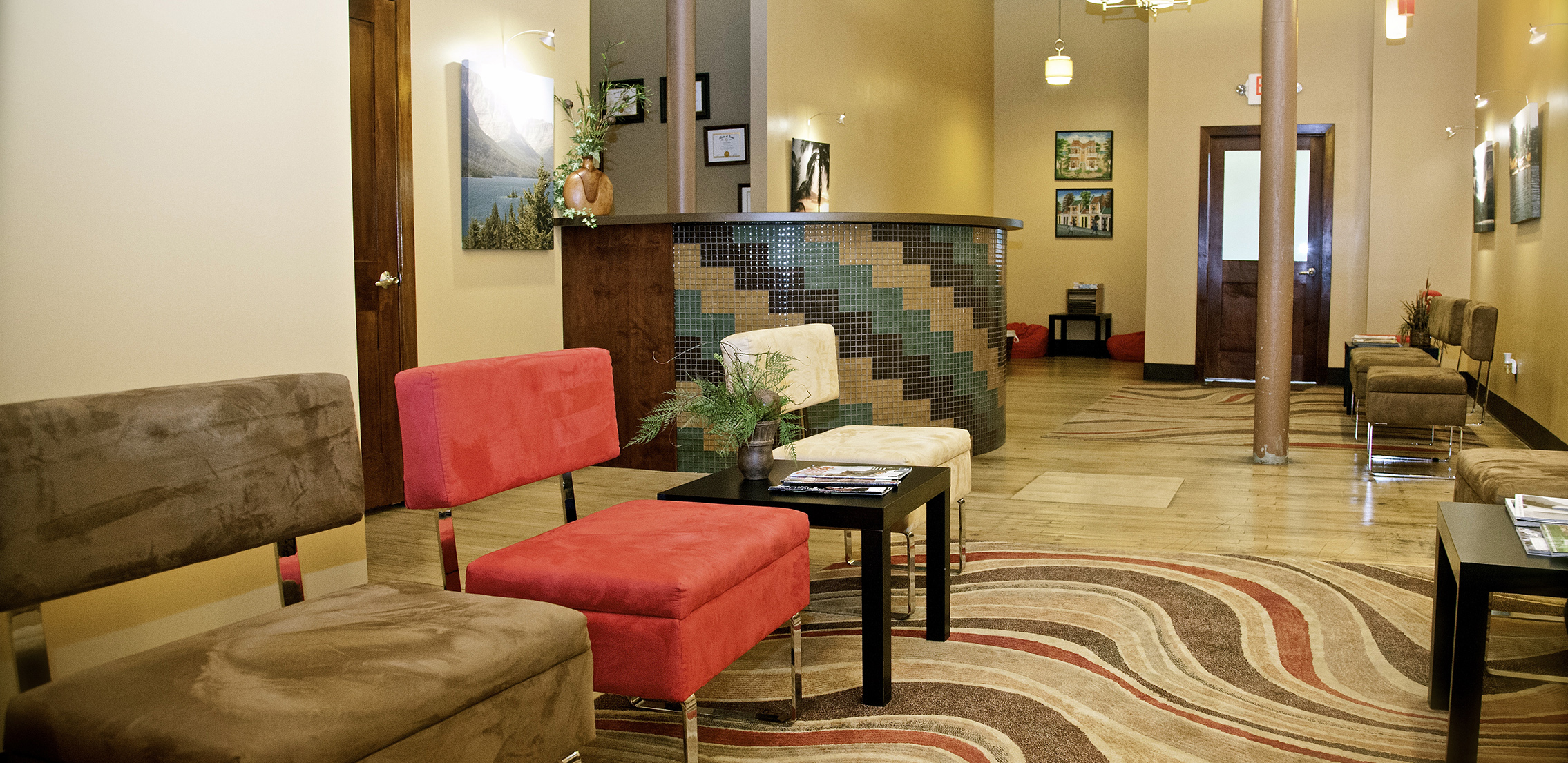 waiting area inside the dental office